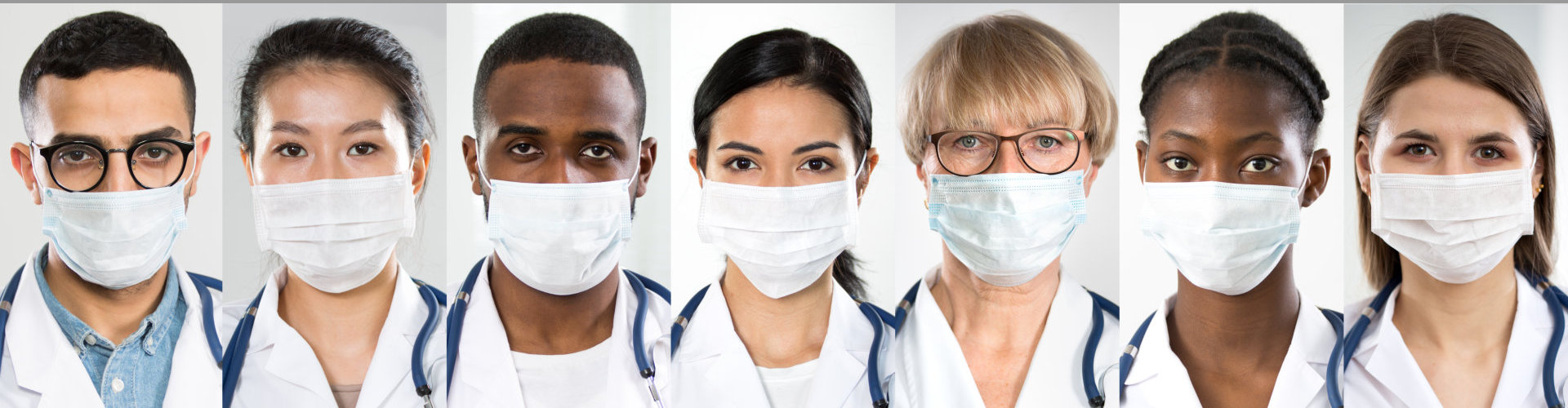 Coronavirus Pandemic. A set of portraits team of doctors of different nationalities and ages in medical masks.