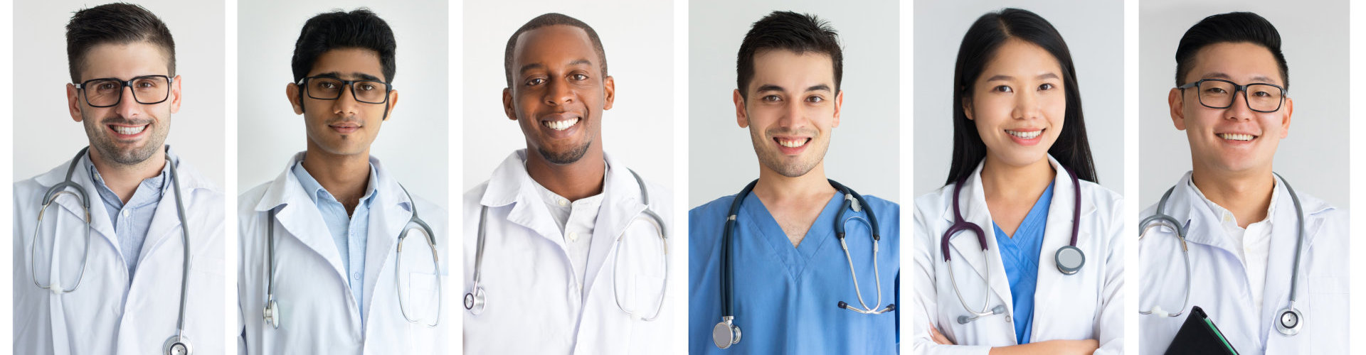 Set of young smiling junior medical staff wearing white uniform. Doctors of different nationalities and ethnicities looking positive, content and cheerful. Future medicine concept. Healthcare concept